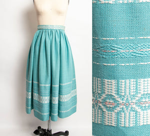 1950s Full Skirt Teal Blue Cotton Ethnic Embroidered Metallic XS