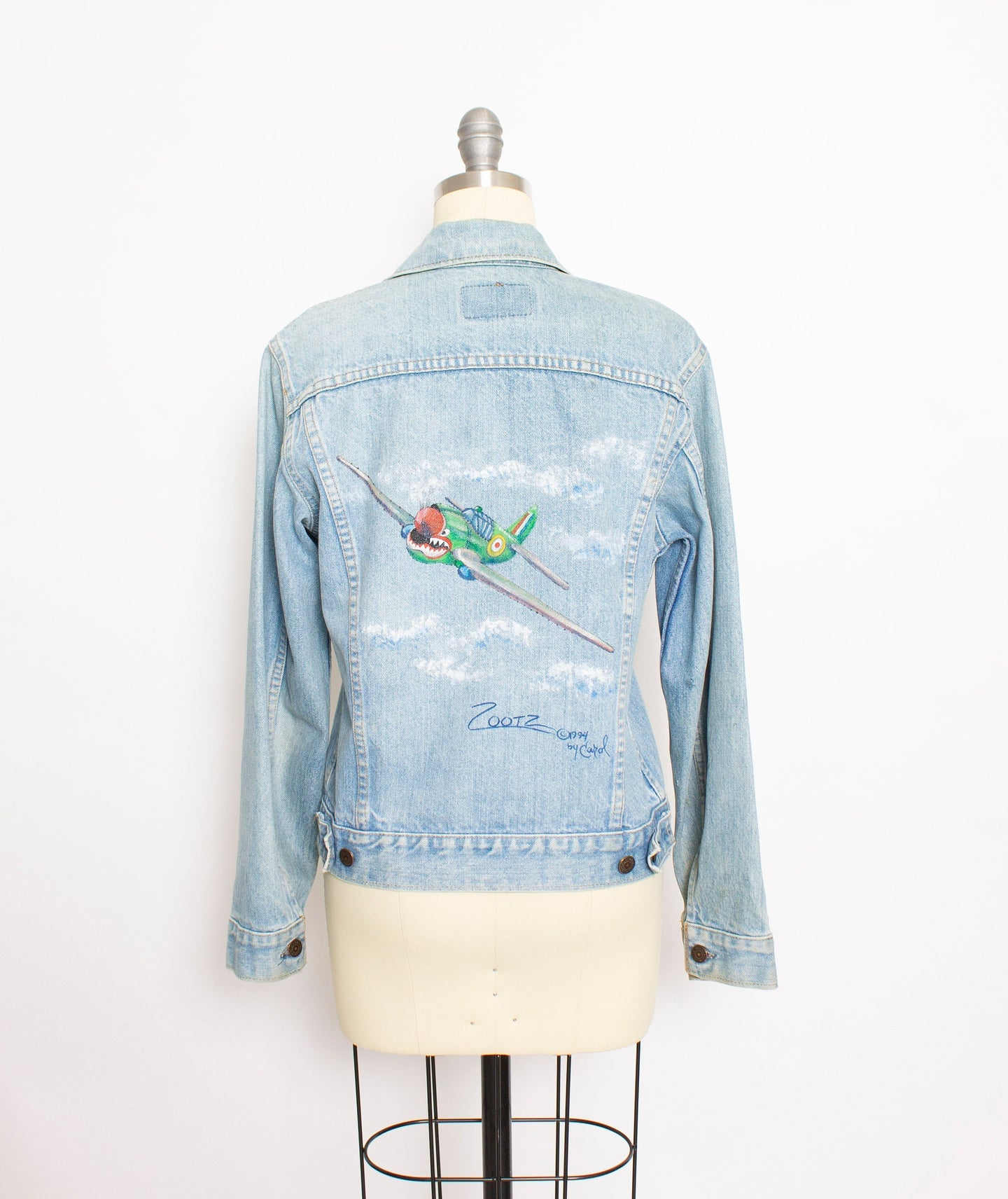 Vintage LEVI'S Denim Jacket 1970s Hand Painted Bomber 70s Small S