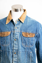 Load image into Gallery viewer, 1980s Denim Jacket Quilted Red Jean Coat Corduroy Large