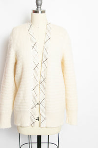 1970s Sweater Wool Knit Ivory Icelandic Cardigan M / L