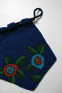 1920s Beaded Purse Art Deco Flapper Floral Bag 30s