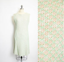 Load image into Gallery viewer, 1960s Dress Illusion Knit Green Shift Woven Sage Medium