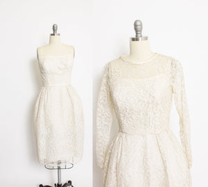 1950s Dress Ivory Lace Sleeveless Bolero Set XS