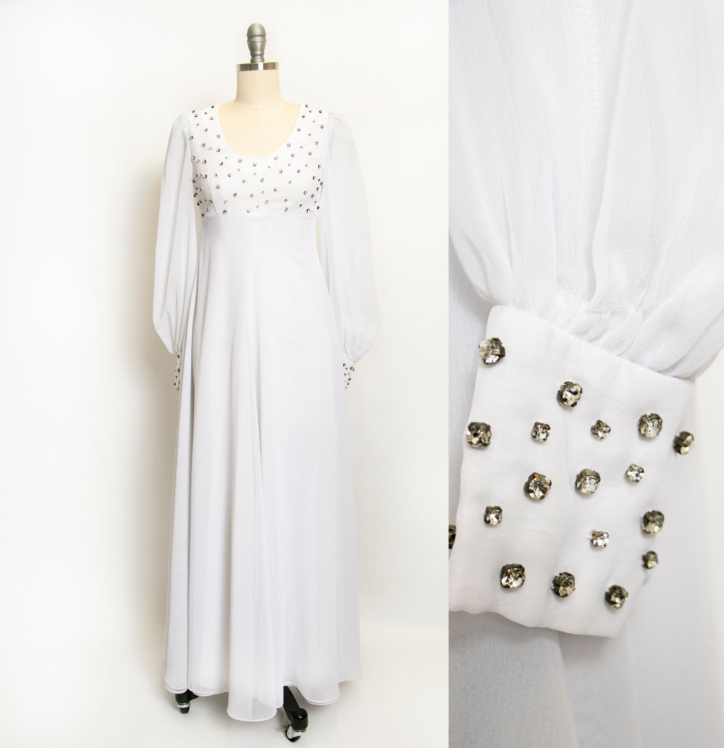 1960s Dress White Chiffon Rhinestone Wedding Maxi Gown XS