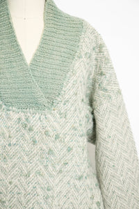 1970s Wool Sweater Sage Green Oversized Knit L