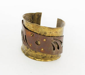 1980s Brutalist Bracelet Metal Cuff Copper Brass Modernist