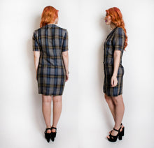 Load image into Gallery viewer, 1980s CHLOE Shirt Front Dress Blue Plaid S