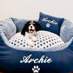 Blue Spot Personalised Dog Bed, Dog Name Embroidered