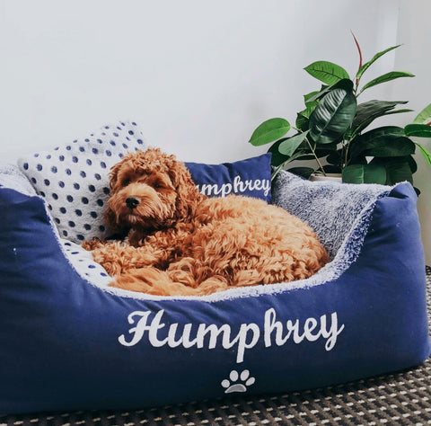 """Blue Spotty Personalised Dog Bed - Dog Name Embroidered """"Humphrey"""""""
