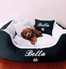 Black Fluffy Personalised Dog Bed, Dog Name Embroidered, Cavoodle Puppy