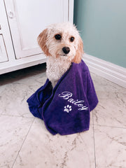 Purple Personalised Dog Towel, Dog Name Embroidered, Cavoodle