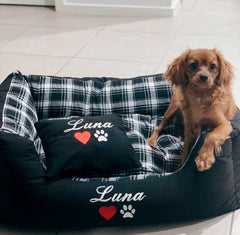 Black Check Personalised Dog Bed, Dog Name Embroidered, Puppy