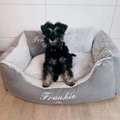 Grey Fluffy Dog Bed, Dog Name Embroidered, Schnauzer Puppy