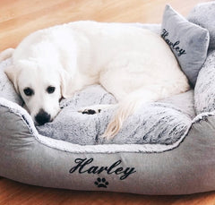 Grey Fluffy Personalised Dog Bed, Dog Name Embroidered, Labrador
