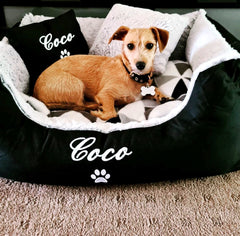 Black Fluffy Personalised Dog Bed, Dog Name Embroidered