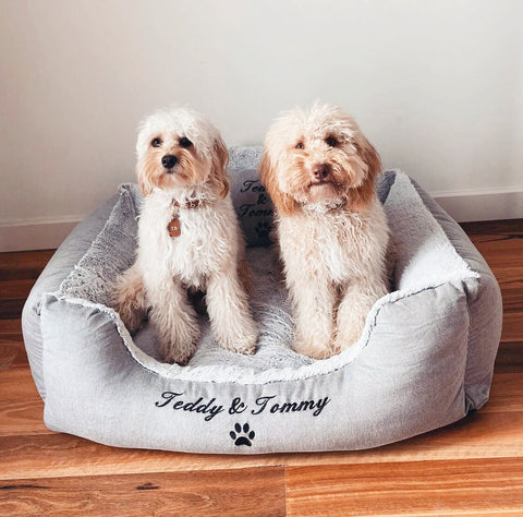 """Boho Personalised Dog Bed - Dog Name's Embroidered """"Teddy & Tommy"""""""