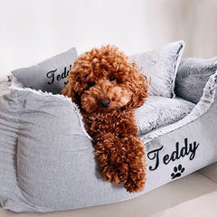 Grey Fluffy Personalised Dog Bed, Embroidered Dog Name, Poodle