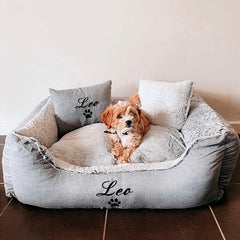 Grey Fluffy Personalised Dog Bed, Dog Name Embroidered, Cavoodle