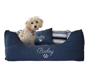 Personalised Blue Stripe Dog Bed - Medium