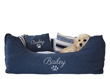 Dog Bed Personalised Blue Stripe Medium
