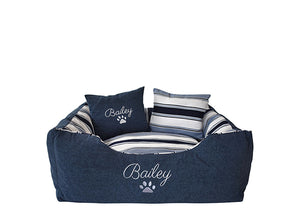 Dog Bed Personalised Blue Stripe Small