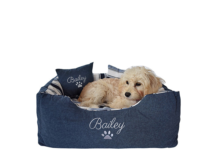 Personalised Blue Stripe Dog Bed - Small