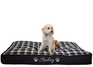 Personalised Black Check Dog Mat - Large