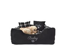 Personalised Black Check Dog Bed - Small