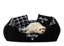 Customisable dog bed with Black checkered pattern and white embroidery