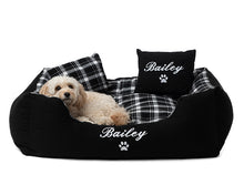 Modern black checkered dog bed, personalised with dog name in white embroidery