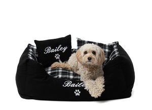 Black checkered style dog bed personalised with dog name in white embroidery