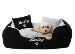 Black fluffy modern dog bed with puppy name embroidered in white