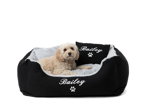 Modern pet bed, dog name in white embroidery on black fluffy fabric