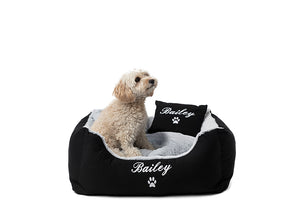 Dog bed for small dogs, personalised pet bed and pillows, white embroidery on black fabric with grey fluffy cushions