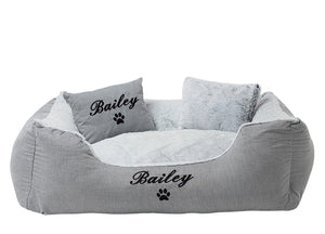 Large personalised dog bed in a modern grey style