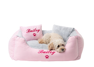 Medium size luxury pink dog bed hand-embroidered with dog name in hot pink