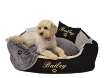 Custom embroidered pet blanket with black embroidery
