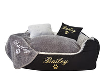 Reversible grey dog blanket with customisable embroidery of dog name in white