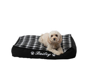 Personalised dog mat with black check pattern, personalised with dog name in white embroidery