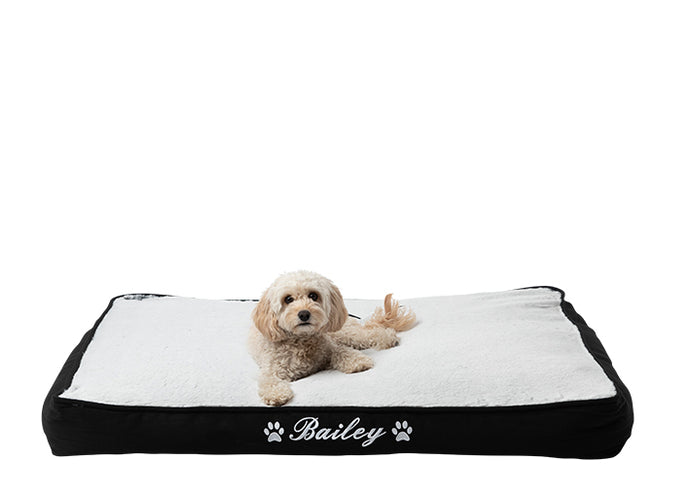 Personalised dog mat for large dog breeds, black and grey fluffy style, white embroidered dog name