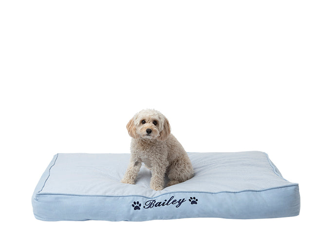 Dog mat for large dog breeds in pale blue cotton design with personalisation of dog name in navy blue