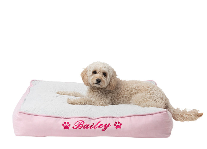 Dog mat for small dogs with pink cotton material custom embroidered in hot pink with dog name