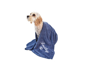 Denim blue dog towel with custom white embroidery of your dogs name