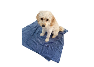 "Customisable blue dog towel with navy blue embroidery of dog name ""Bailey"""