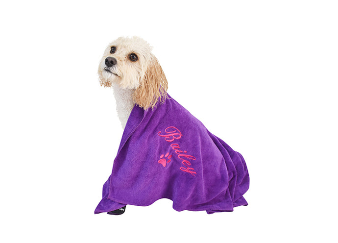 Super soft pet towel in purple with pink embroidery
