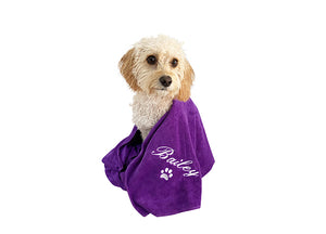 Customisable dog towel with white embroidery on purple fast drying material