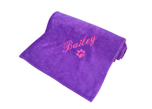 Dog spa towel in colour purple customised with pink embroidery of dog name