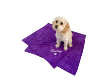 "Large purple personalised pet towel with white embroidery of dog name ""Bailey"""