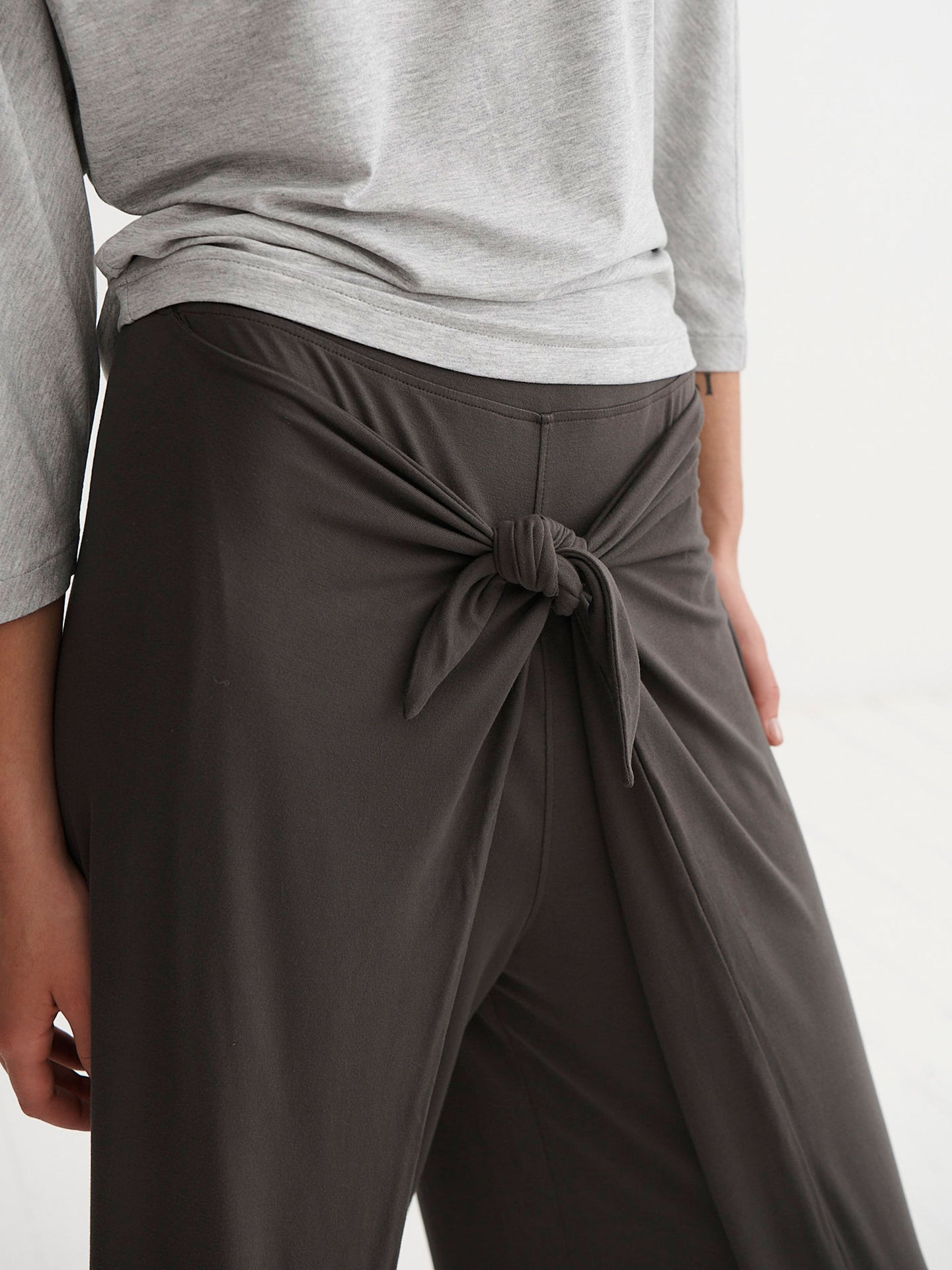 Evie jersey tie front trouser