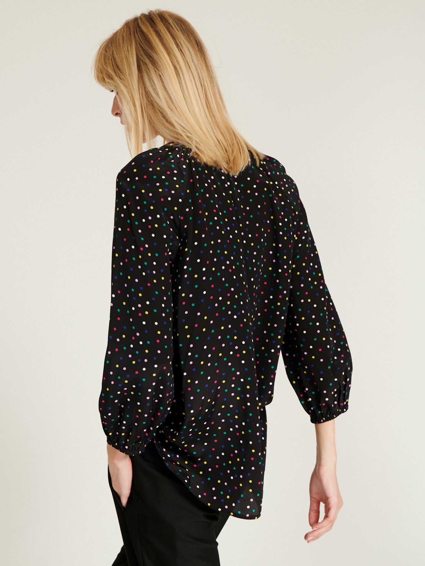 Lucille silk multispot shirt black